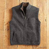 Men's boiled alpaca wool blend vest, 'Andean Holiday' - Boiled Alpaca Wool Travel Vest