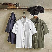 Men's cotton shirt, 'Island Guayabera' - Peruvian Cotton Guayabera Travel Shirt