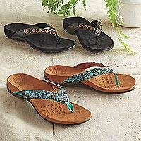 Embellished sandals, 'Snake Charmer' - Snake Charmer Travel Sandals