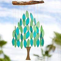 Teakwood and glass wind chime, 'Tree of Life' - Tree of Life Wind Chime