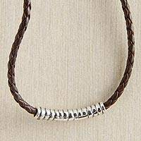 Sterling silver and braided leather necklace, 'Java Groove' - Javanese Silver Braided-leather Necklace