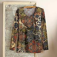 Jersey knit top, 'Magic Mehndi' - Indian Mendhi Travel Shirt