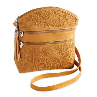 Suede shoulder bag, 'San Lorenzo' - Florentine Suede Embossed Floral Bag