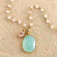 Gold plated chalcedony and rose quartz pendant necklace,