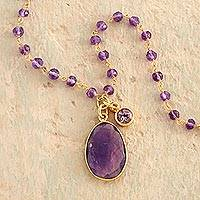 Gold plated amethyst pendant necklace, 'Raja's Treasure' - Indian Faceted Amethyst Necklace