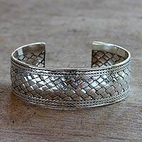 Sterling silver cuff bracelet, 'Balinese Basket-weave' - Balinese Basket-weave Sterling Silver Bracelet