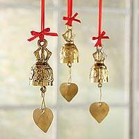 Brass ornaments, 'Thai Bells' (set of 3) - Thai Bell Ornaments - Set of 3