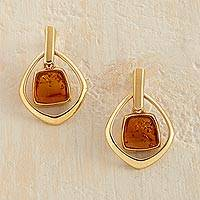 Gold vermeil amber dangle earrings, 'Ancient Stories' - Amber Vermeil Earrings