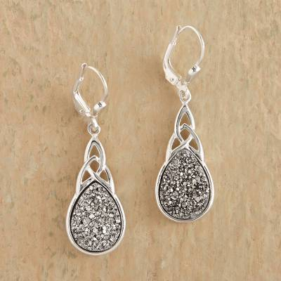 Druzy Quartz Dangle Earrings Irish Mist Celtic Knot