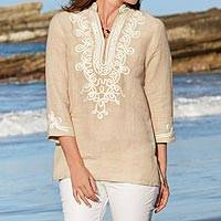 Embroidered cotton tunic, 'Chennai Chic' - Indian Embroidered Cotton Tunic