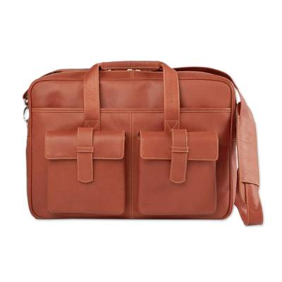 Brown Leather Unisex Carryall Briefcase or Travel Bag