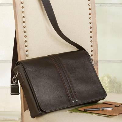 Leather messenger bag, 'Alluring Altiplano' - Unisex Brown Leather Messenger Bag from Bolivia