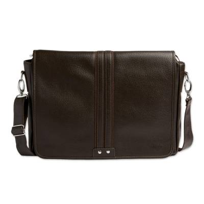 Unisex Brown Leather Messenger Bag from Bolivia