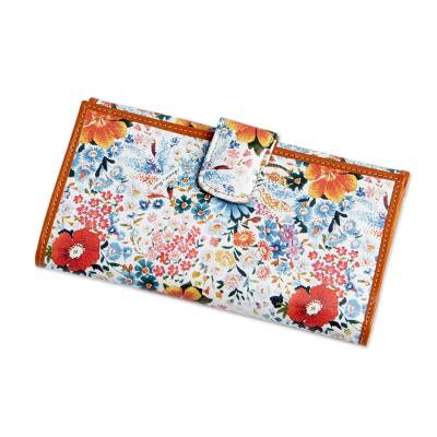 Leather wallet, 'Florentine Floral' - Women's Floral Leather Wallet Made in Italy