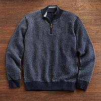 Men's pima cotton sweater, 'El Misti' - El Misti Pima Cotton Sweater