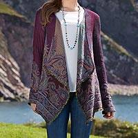Woven wool cardigan, 'Mumbai Jazz' - Mumbai Jazz Open Cardigan