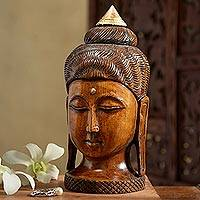 Wood sculpture, 'Buddha of Jaipur' - Kadam Buddha Sculpture