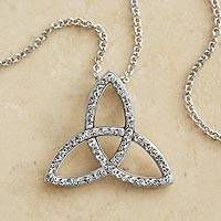 Swarovski crystal pendant necklace, 'Eternal Trinity' - Trinity Knot Necklace with Swarovski Crystals