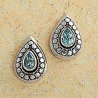 Blue topaz button earrings, 'Flores' - Flores Blue Topaz Earrings