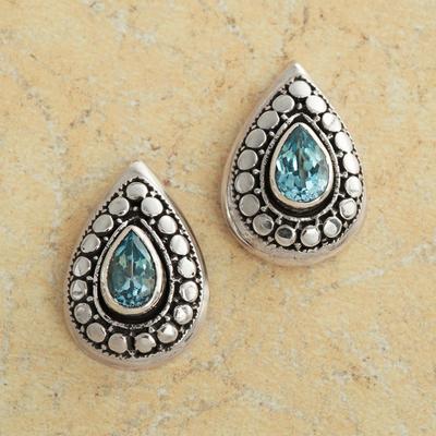 Flores Blue Topaz Earrings