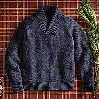 Featured review for Mens wool blend sweater, Military Mechanic