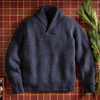 Mens wool blend sweater, Military Mechanic