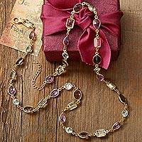 Gold plated multi-gemstone link necklace, 'Golden Age' - Gold Plated Gemstone Necklace with Prasiolite and Amethyst