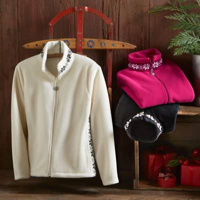 Fleece jacket, 'Treviso Snowflake' - Treviso Snowflake Fleece Zip-Up Jacket