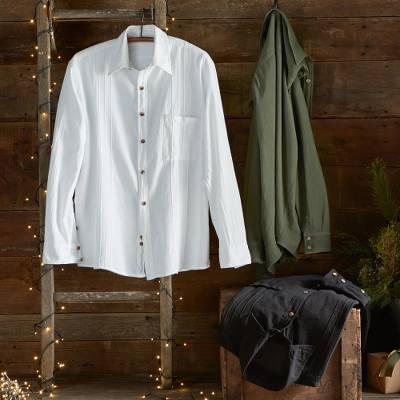 Men's pima cotton shirt, 'Global Wanderer' - Peruvian Pima Pin-tuck Shirt