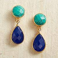 Gold plated lapis lazuli dangle earrings, 'From Sea to Sky' - Gold Plated Lapis Lazuli Dangle Earrings from India