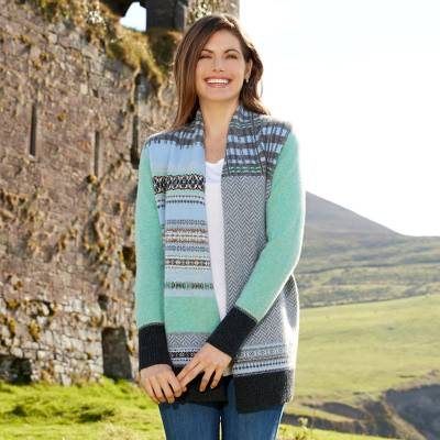 Wool cardigan, 'Scottish Pioneer' - Scottish Pioneer Slouch Cardigan