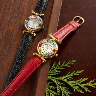 Gold plated Murano glass accented watch, 'Millefiori Blossom' - Millefiori Blossom Watch