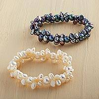 Cultured freshwater pearl stretch bracelet, 'Dragon Tears' - South China Pearl Bracelet