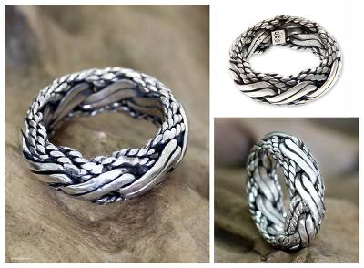 Mens sterling silver ring, Reptilian