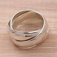 Men's sterling silver ring, 'Family of Three' - Men's Handmade Sterling Silver Band Ring