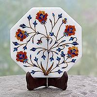 Marble inlay decorative plate, 'Mughal Magic' - Makrana Marble Inlay Decorative Indian Plate with Stand