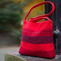Novica Alpaca shoulder bag, Scarlet World - Fair Trade Alpaca Wool Shoulder Bag