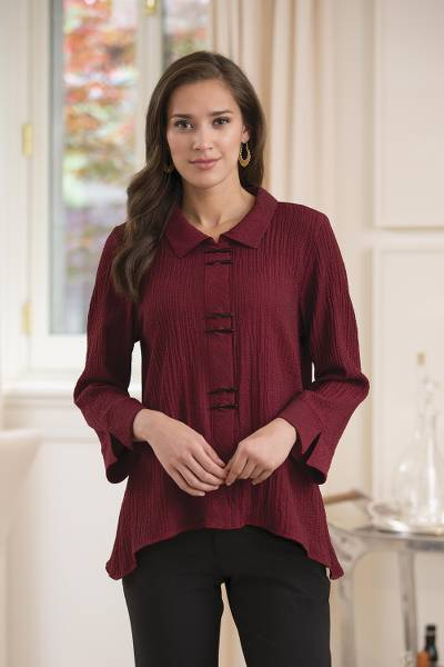 Rayon blend travel shirt, 'Chopsticks' - Chopsticks Travel Shirt