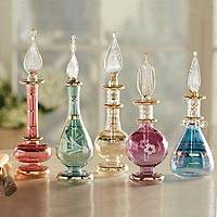 Glass perfume bottles, 'Cairo Colors' (set of 5) - Egyptian Glass Miniature Perfume Bottles set of 5