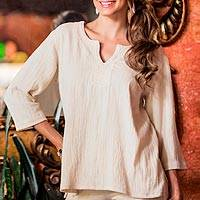 Women's cotton tunic, 'Casual Beauty' - Handmade Women's Cotton Embroidered Tunic Top