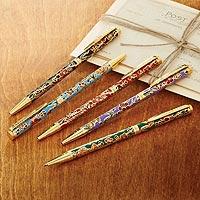 Cloisonne pens, 'Elegant Scribe' (set of 5) - Set of Five Cloisonne Pens