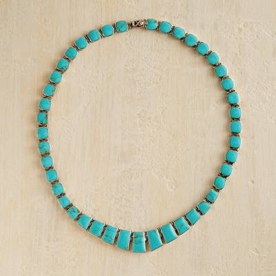 Turquoise statement necklace, 'Andean Treasure' - Chilean Necklace