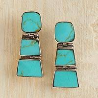 Turquoise drop earrings, 'Andean Treasure' - Chilean Earrings