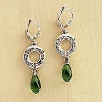 Swarovski crystal dangle earrings, 'Claddagh' - Irish Claddagh Earrings