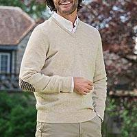 Men's wool pullover sweater, 'River Tweed' - Men's Natural Colored Wool Sweater with Elbow Patches