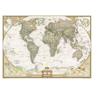 Large World Wall Map Mural in Earth Tones Executive NOVICA