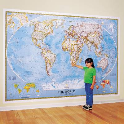 Large Wall Map Large Classic World Wall Map Mural   Classic | NOVICA