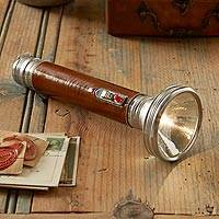 Leather-handled flashlight, 'Retro Classic' - Retro Classic Flashlight