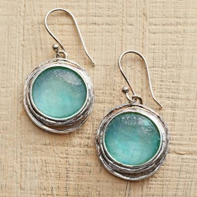 Glass dangle earrings, 'Ancient Rome' - Roman Glass Earrings