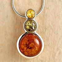Amber pendant necklace, 'Ancient Magic' - Tricolor Baltic Amber Necklace